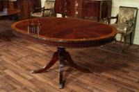48 Round Dining Table with Leaf | Round Mahogany Dining Table