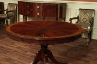 Round Mahogany Dining Table with Leaf, Four Leg Reeded ...