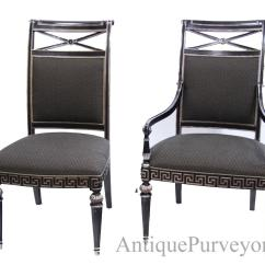 Dining End Chairs Slipcover For Bedroom Chair Black Silver Painted Transitional Upholstered Room