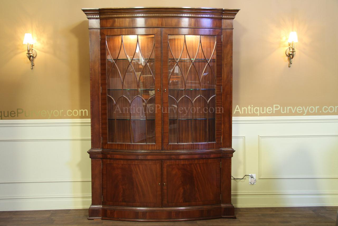 HighEnd Bow Front China Cabinet Hutch Mahogany Display