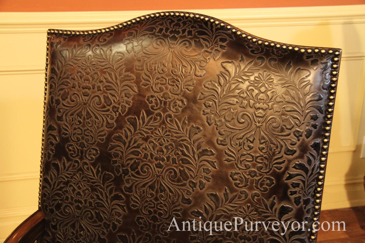 Brown Hair Hide and Embossed Leather Upholstered Captain Chairs