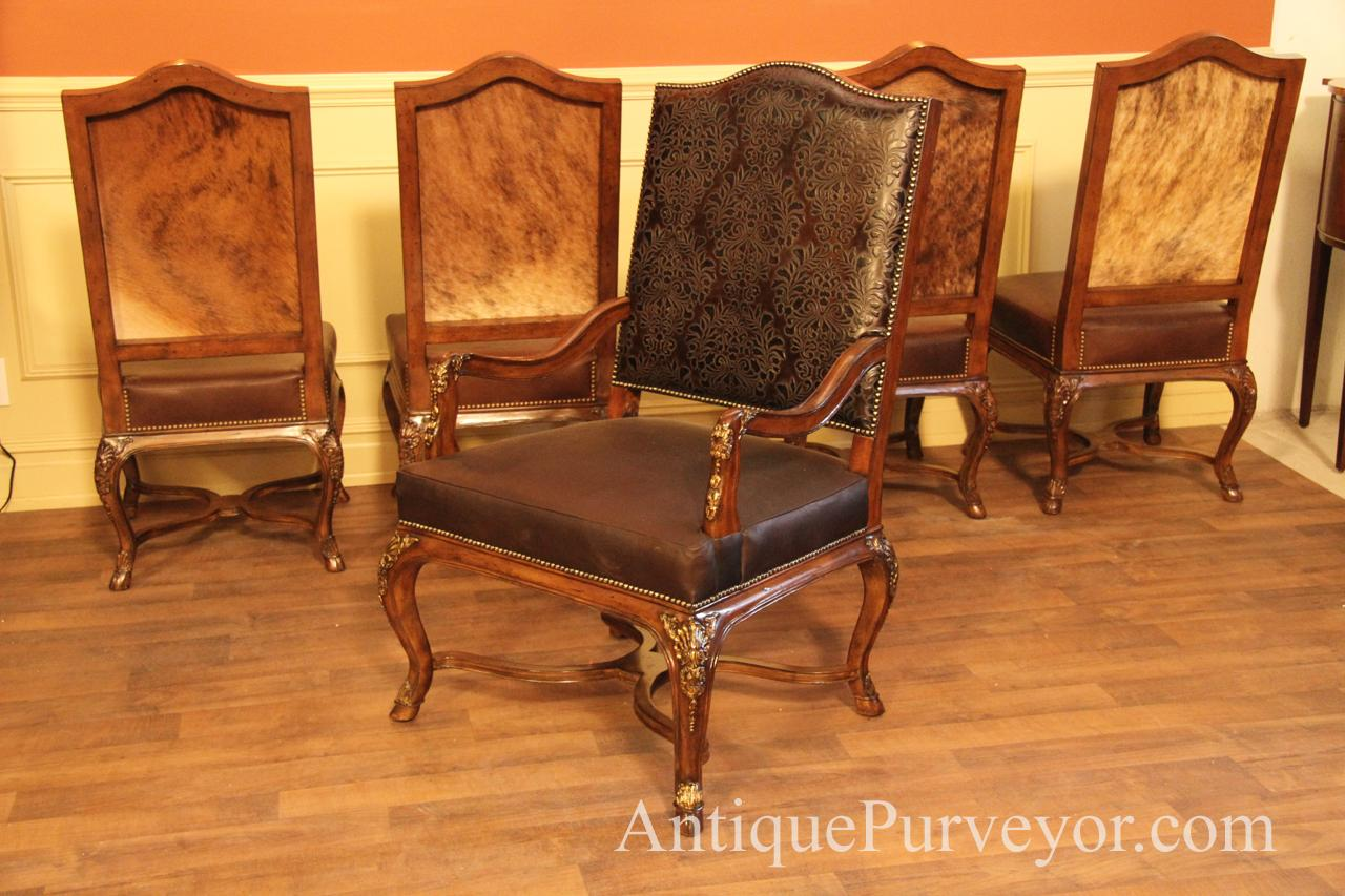 dining room chairs upholstered with arms iron wrought brown luxurious hair hide arm