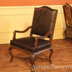 Hair On Hide Office Chair Unusual Comfy Brown And Embossed Leather Upholstered Captain