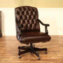 Quality Leather Dining Chairs Koch Barber Chair Brown Tufted Camel Back Executive With Brass
