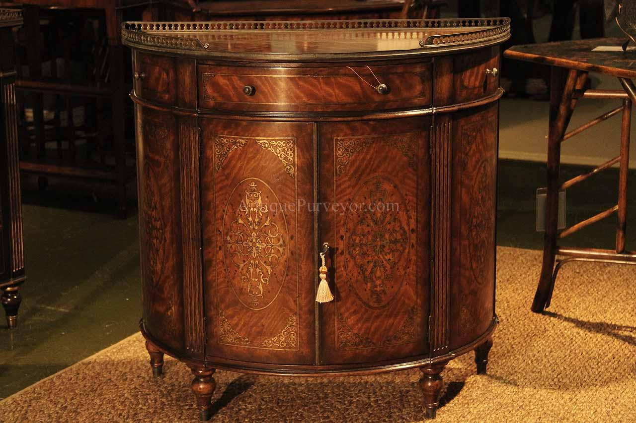 bedroom chair clearance armless slipper chinoiserie demilune or bow front dining cabinet