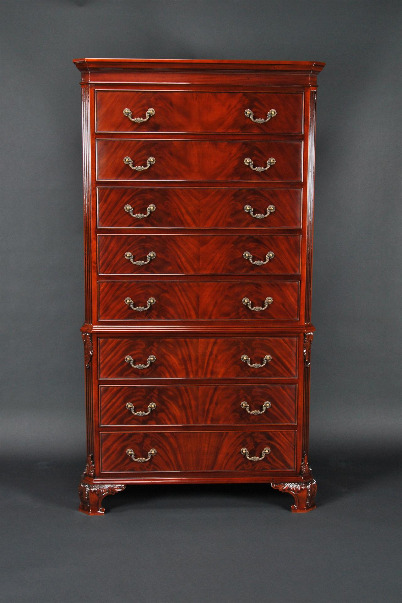 Mahogany Chest on Chest with Hand Carved Details