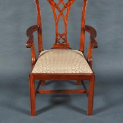 Chippendale Dining Chair Blue Leather Chairs Simple Mahogany Straight Leg 6