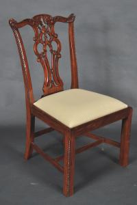 Chippendale Solid Mahogany Straight Leg Dining Room Chairs ...