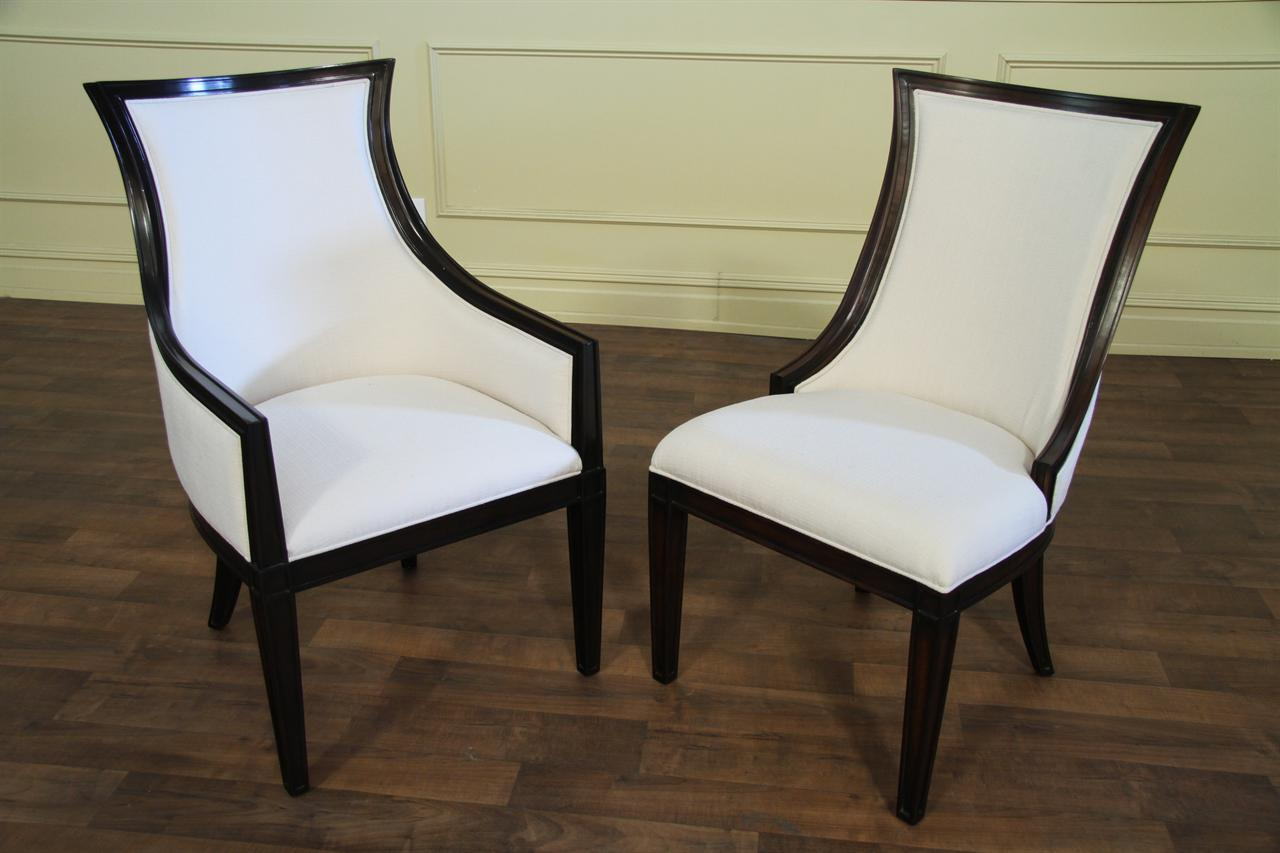 transitional dining chairs satin banquet chair covers ebonized upholstered back