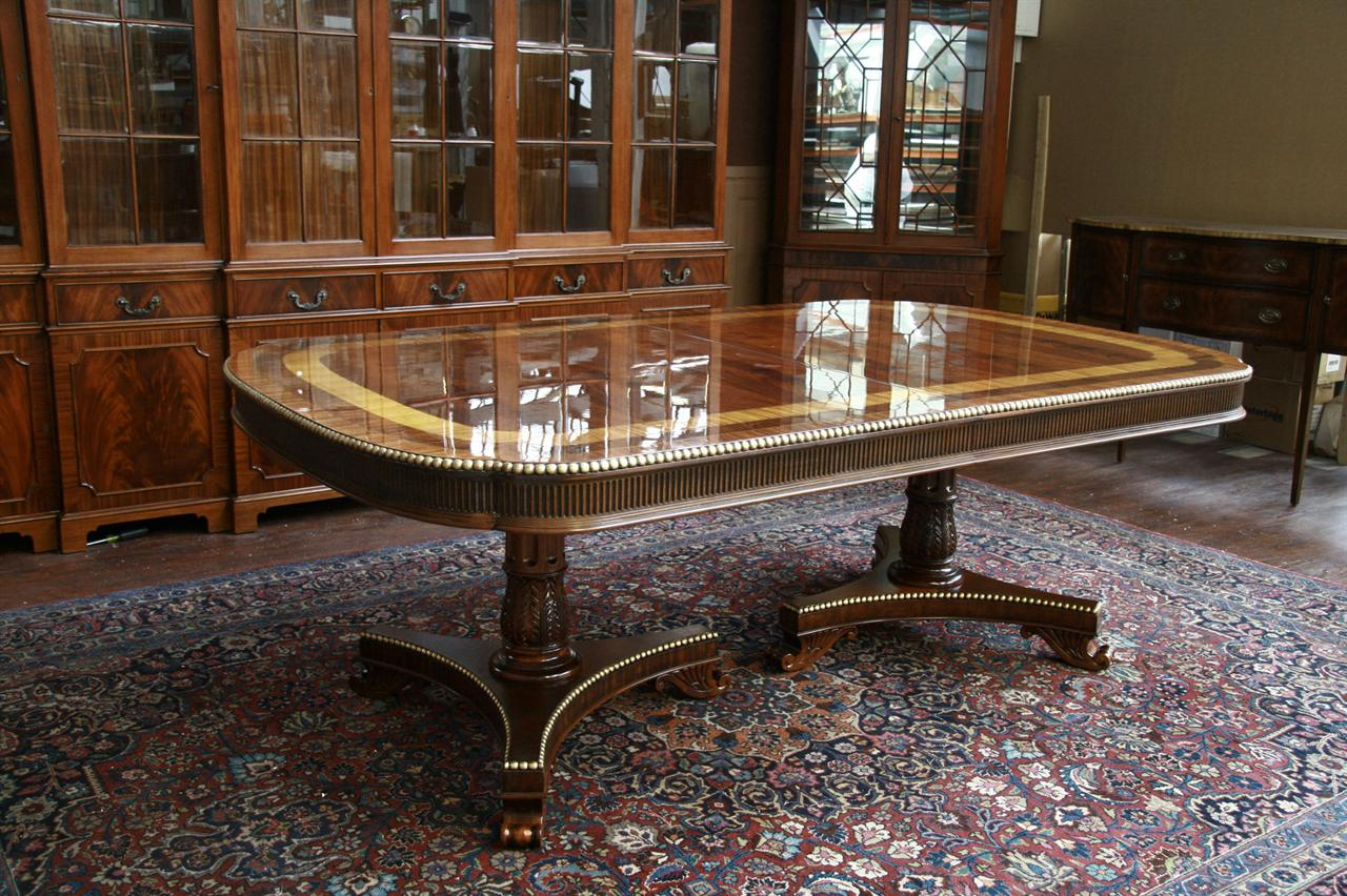 Gold Leaf Accented Extra Large American Made Dining Table