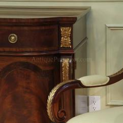 Antique Mahogany Office Chair Wooden Arm Sideboard With Gold Leaf Accents For The Dining Room
