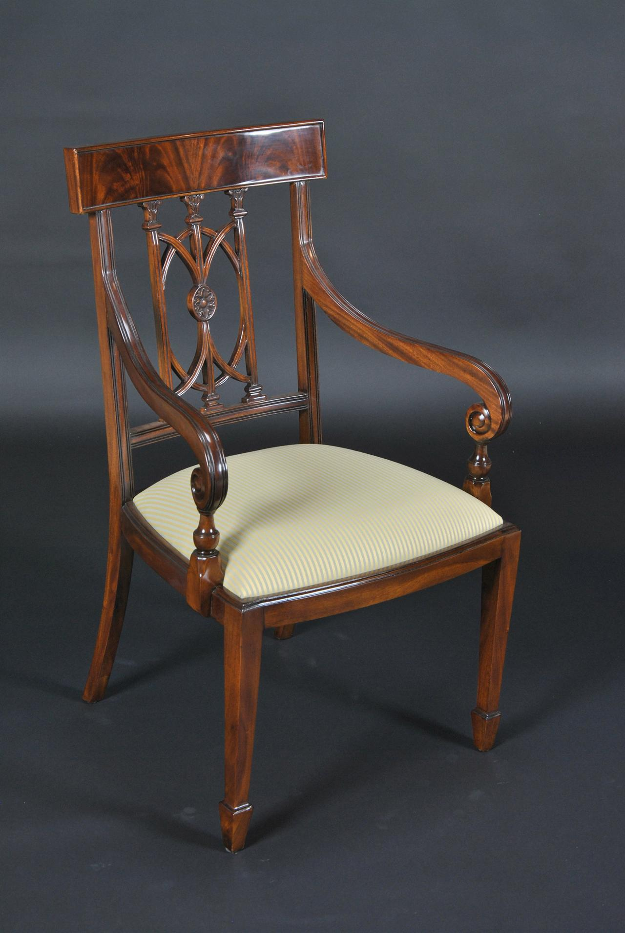 Hepplewhite style dining chairs with swirl mahogany crest
