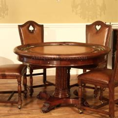 Poker Chairs With Casters Dining Chair Covers Gorey High End Leather Upholstered Game Brass Nail