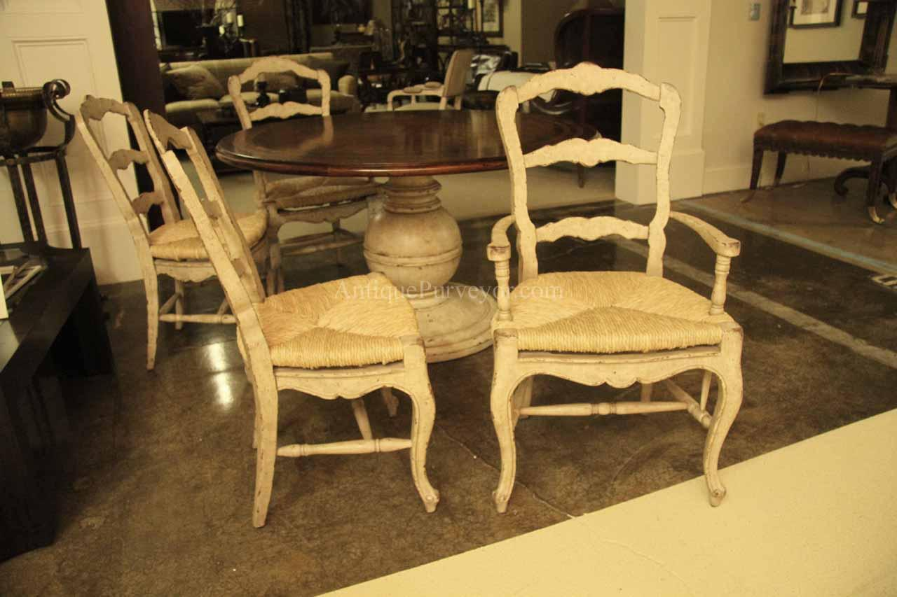 White Painted Ladder Back French Country Chairs Shabby Chic