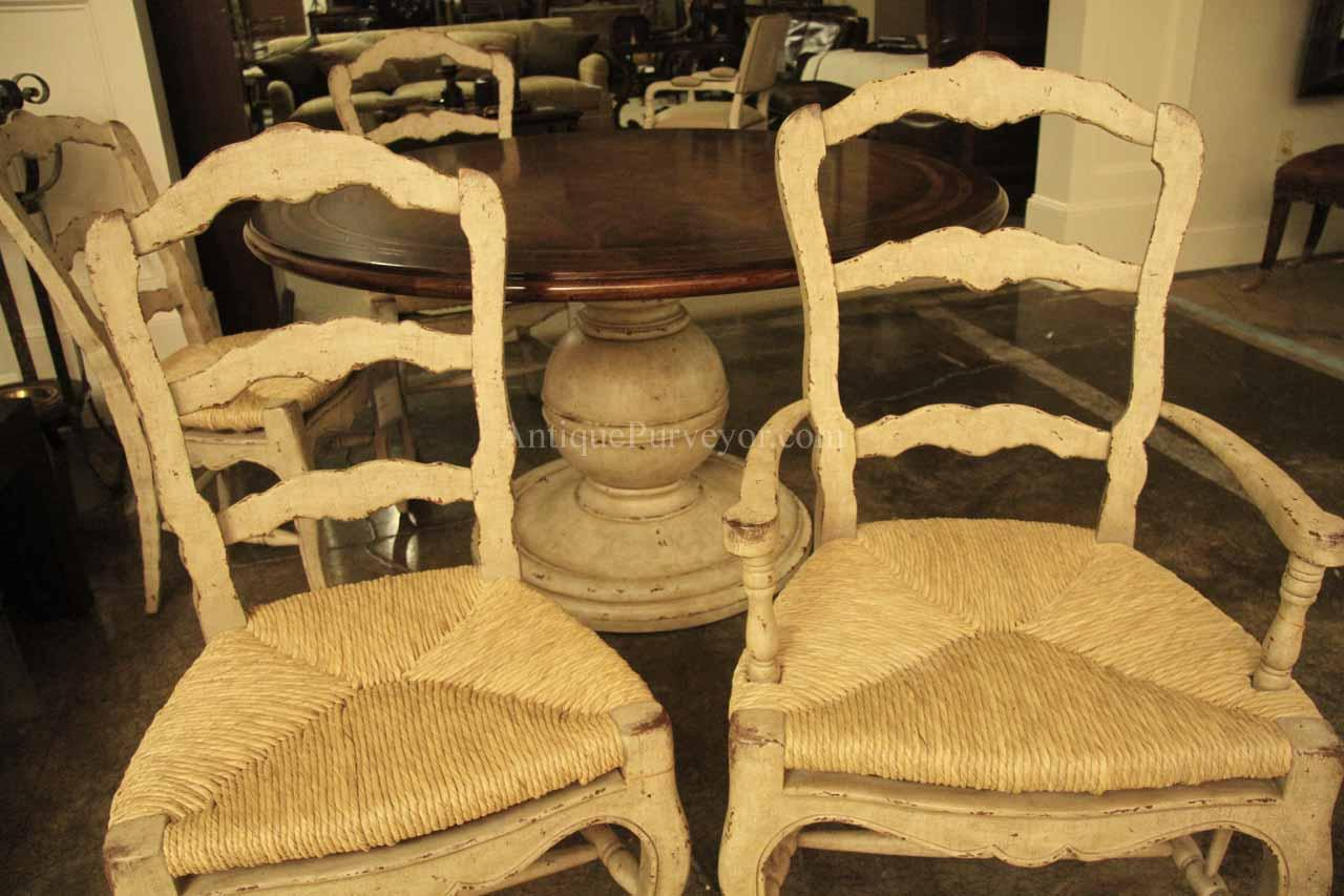 white ladder back chairs rush seats ergonomic chair desk painted french country shabby chic