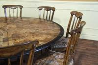 Large Round Walnut Dining Room Table with Leaves Seats 6 ...