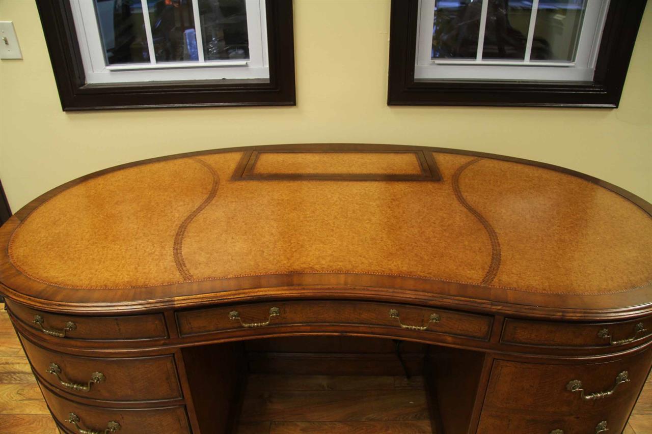 Walnut Leather Top Executive Kidney Desk  AntiquePurveyor