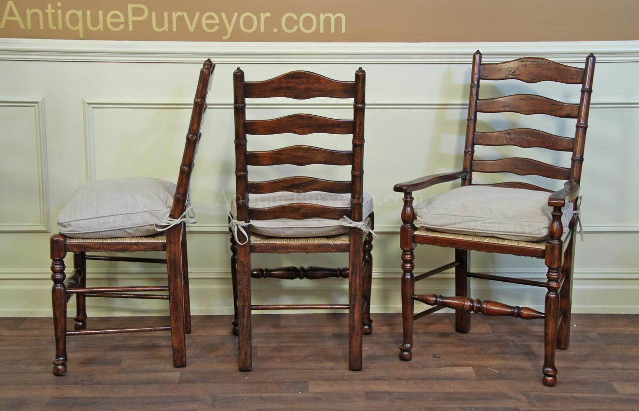 antique ladder back chairs with rush seats classroom rocking chair rustic upholstered cushions seat and pillows dining