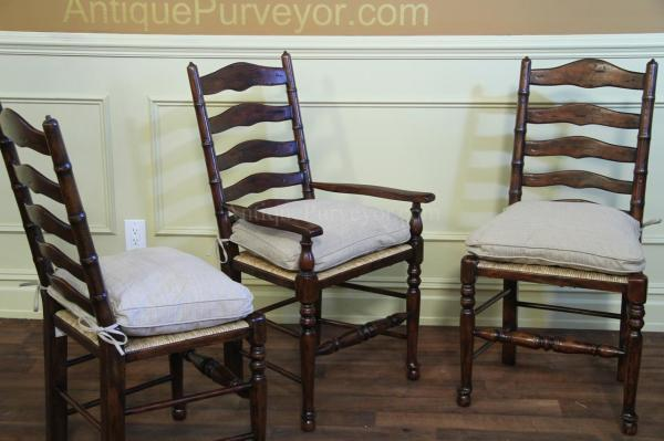 Rustic Ladder Chairs Rush Seats With Upholstered Seat