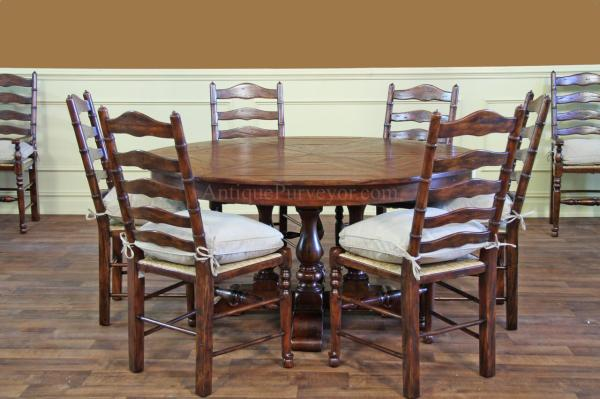 Ladder Back Dining Chairs with Rush Seats