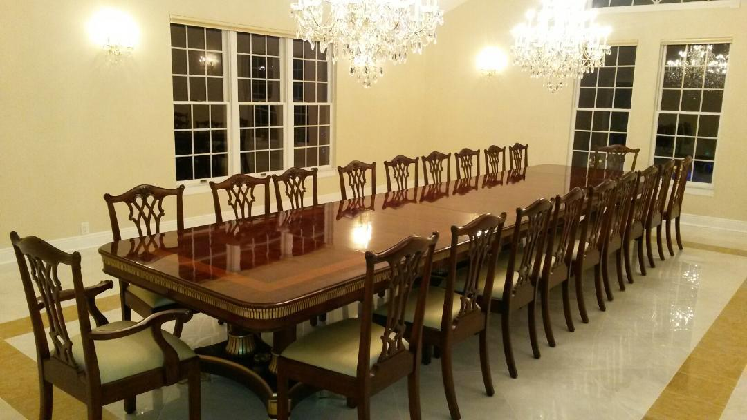 Large Mahogany Dining Table With Leaves Seats 12
