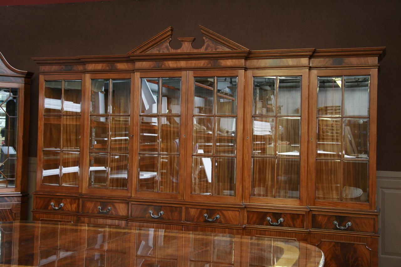 Large Mahogany China Cabinet  Six Door Breakfront  eBay