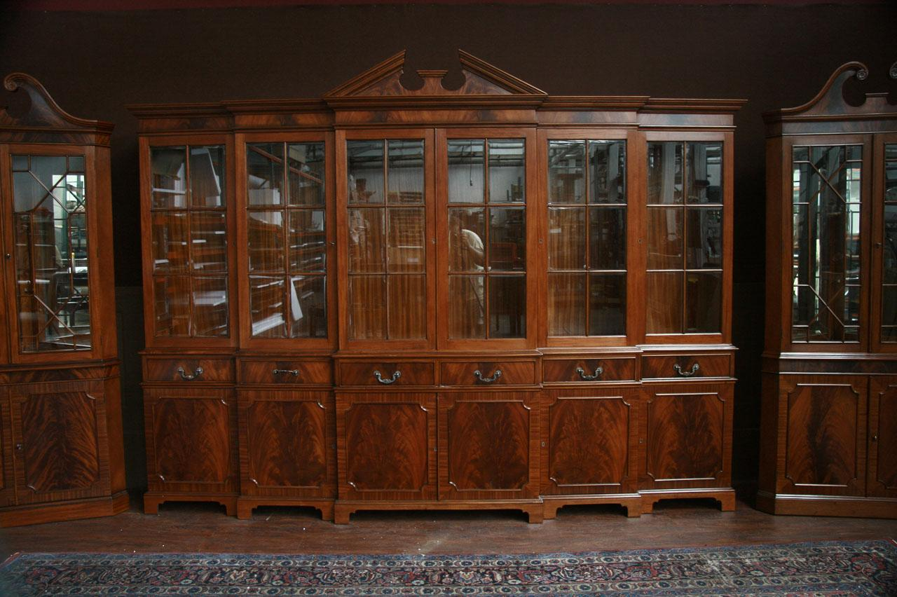 Large Mahogany China Cabinet  Large Breakfront  Extra