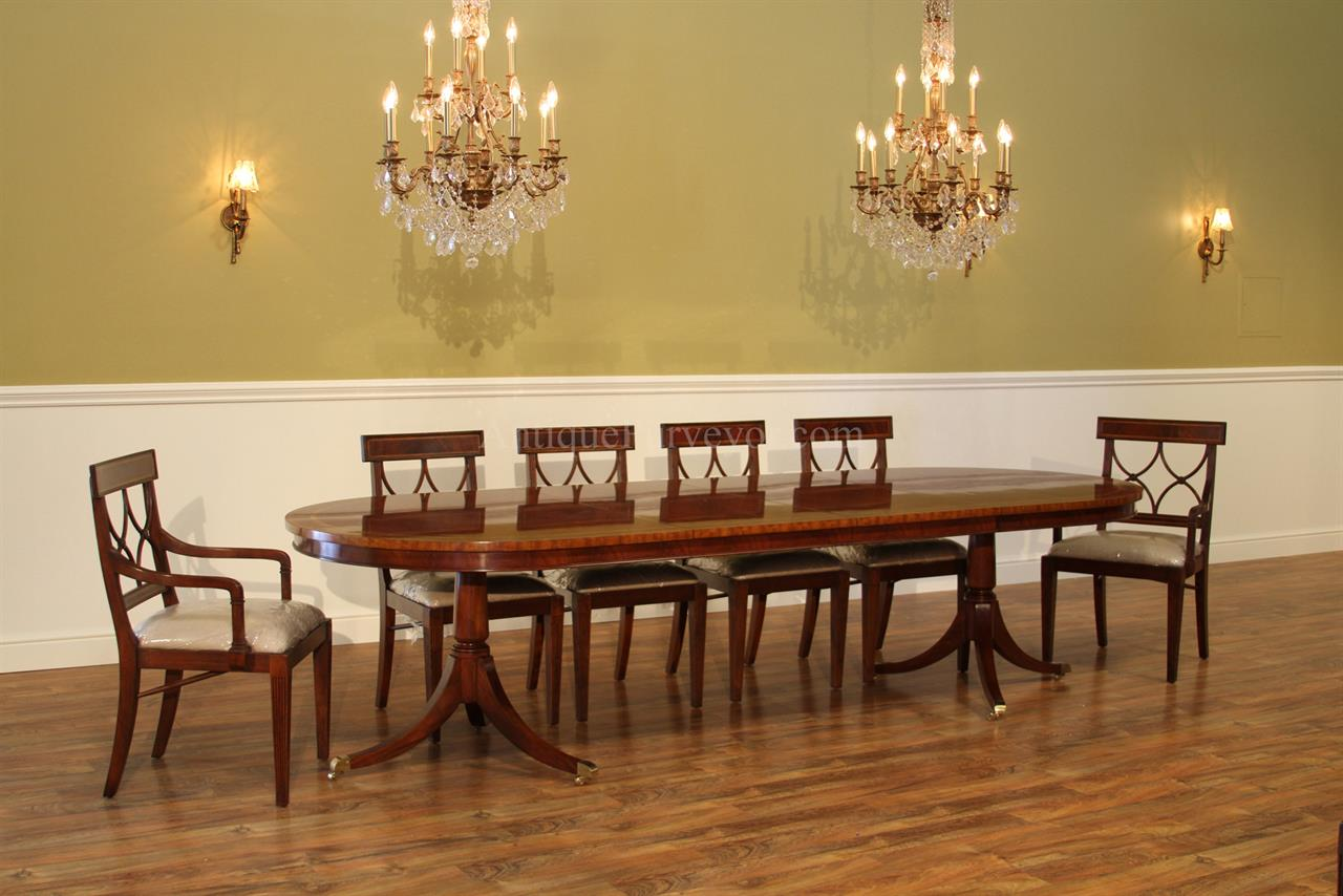 Large Oval Mahogany Double Pedestal Dining Room Table with