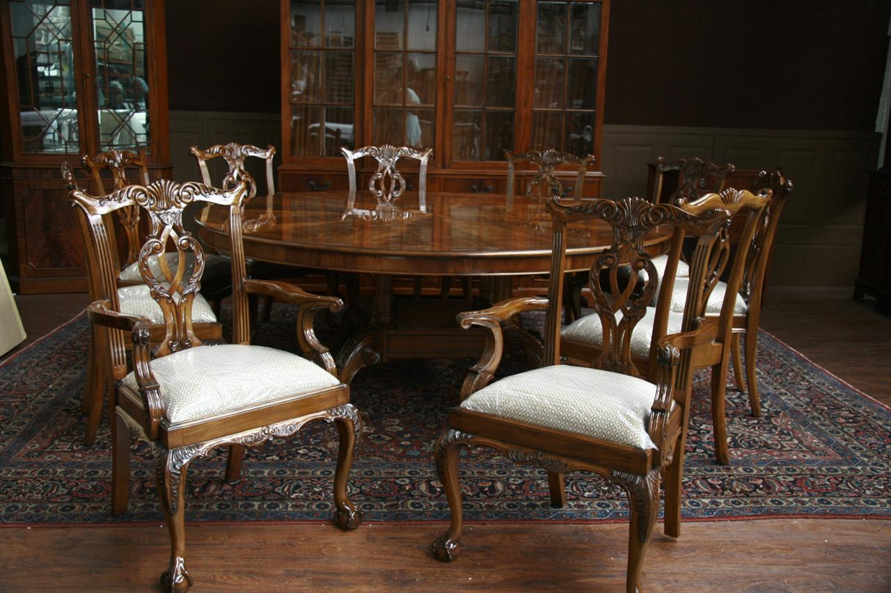 Large Oversized Round Dining Table Large Round Mahogany Dining Room Table  eBay