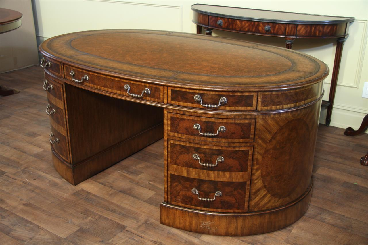 Mahogany and Walnut Traditional Leather Top Partners Desk