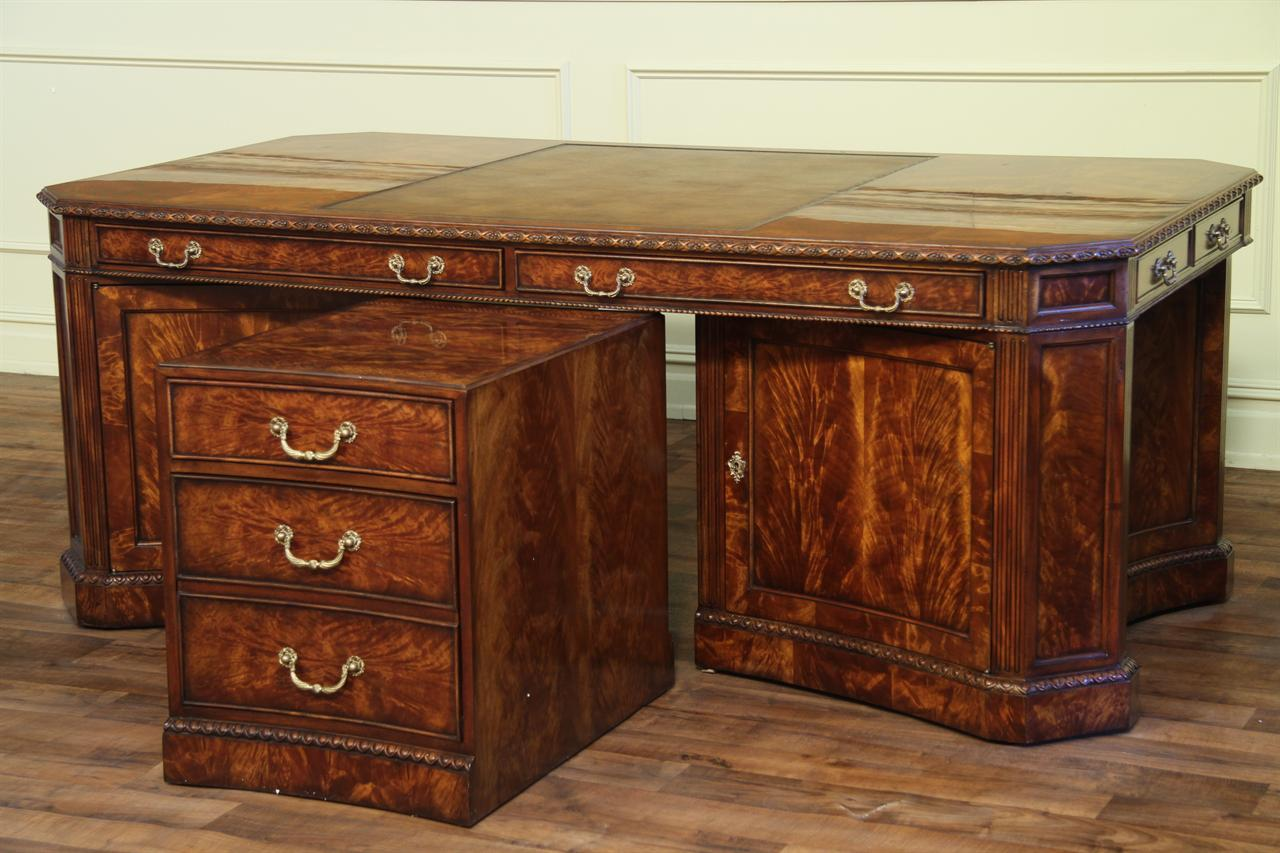 Leather Top Partners Desk  High End Office Furniture