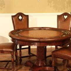 Round Card Table And Chairs Summer Infant Wooden High Chair Leather Top Poker Mahogany Games
