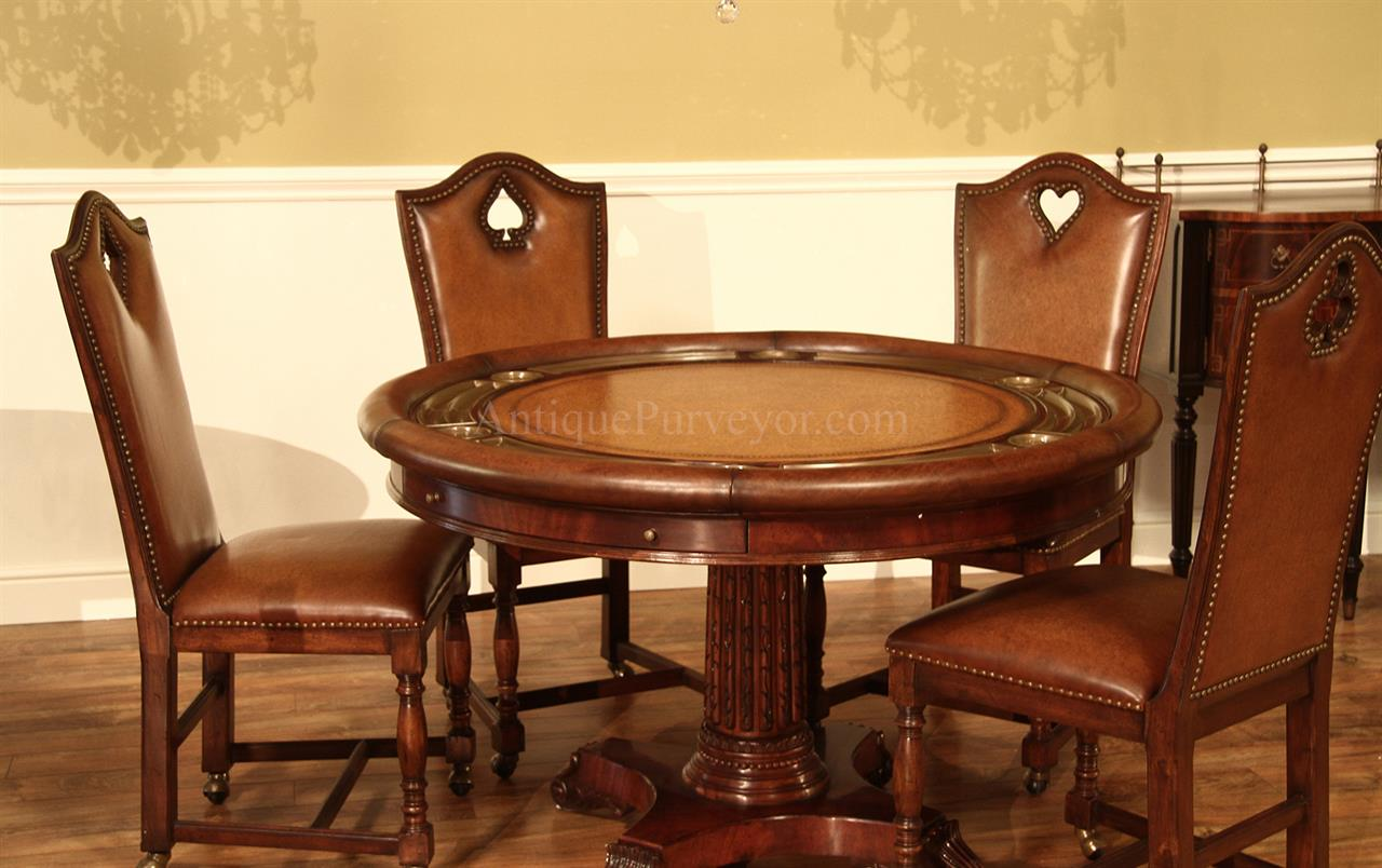 card table and padded chairs outdoor patio target round leather top poker table, mahogany games