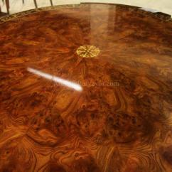 Antique Mahogany Office Chair Covers For Parsons Dining Chairs Center Table With Elm Burl And Brass Floral Inlay