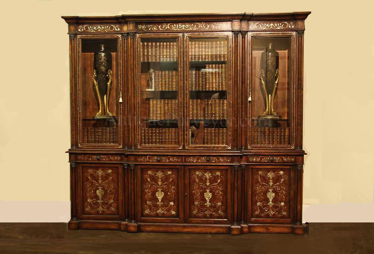 Mahogany China Cabinet Breakfront with Mother of Pearl Inlay