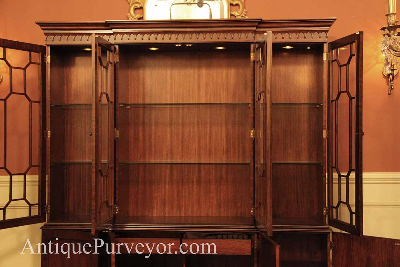 Mahogany China Cabinet Hutch Breakfront Fine Reproduction