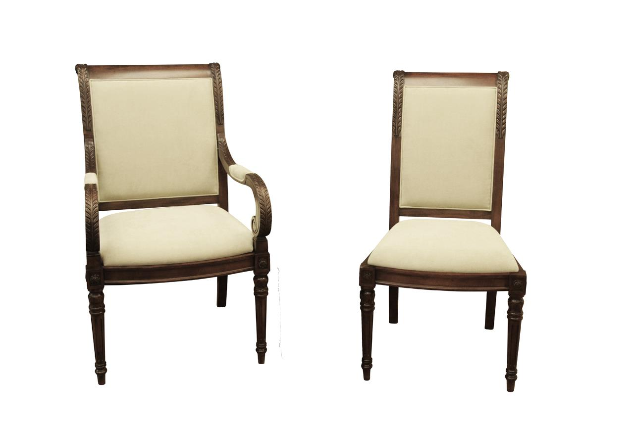 New French Style Upholstered Dining Room Chairs ~Stain