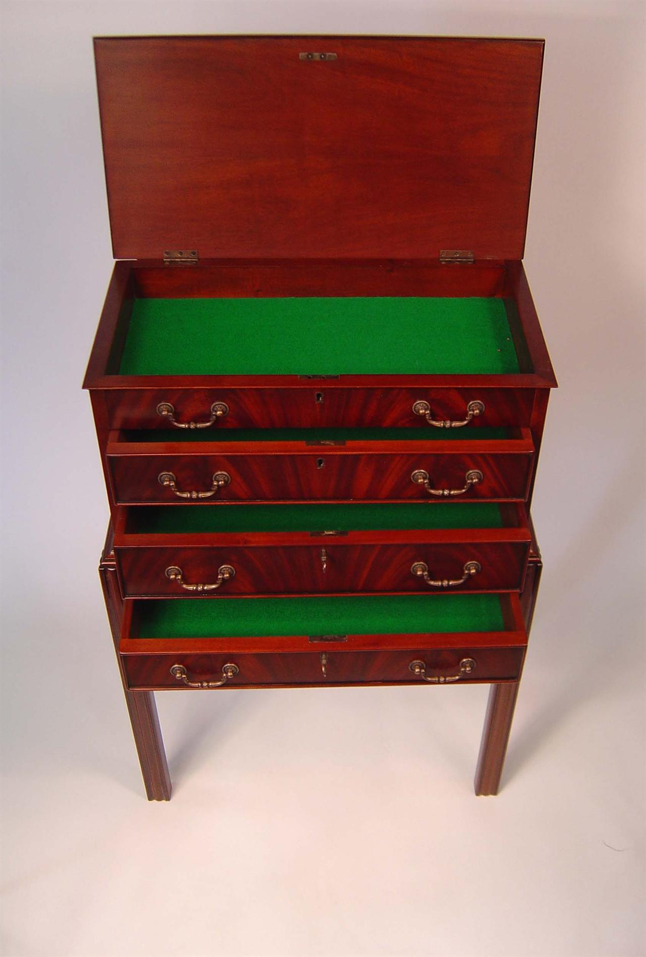 Mahogany Silver Chest Graduated Drawers