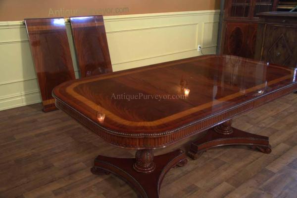 Narrow Regency Style Inlaid Mahogany Dining Table Seats