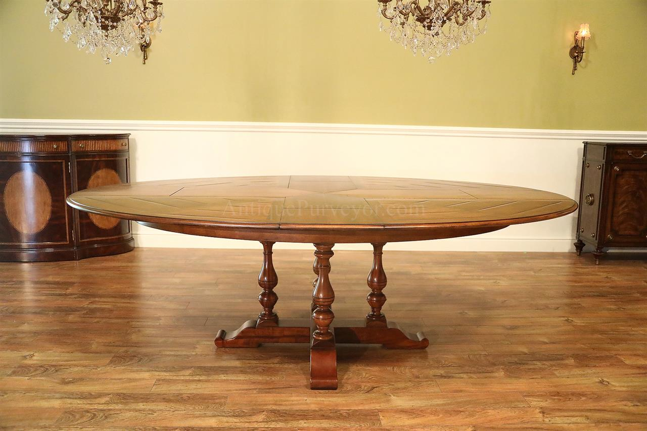 oval to oval expansion table with self storing leaves