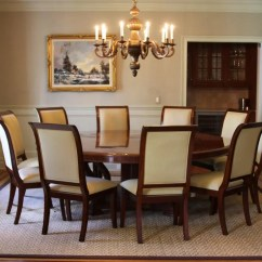 10 Chair Dining Table Set Plastic Rail Extra Large 88 Round Mahogany With Perimeter Leaves Upholstered Chairs Shown