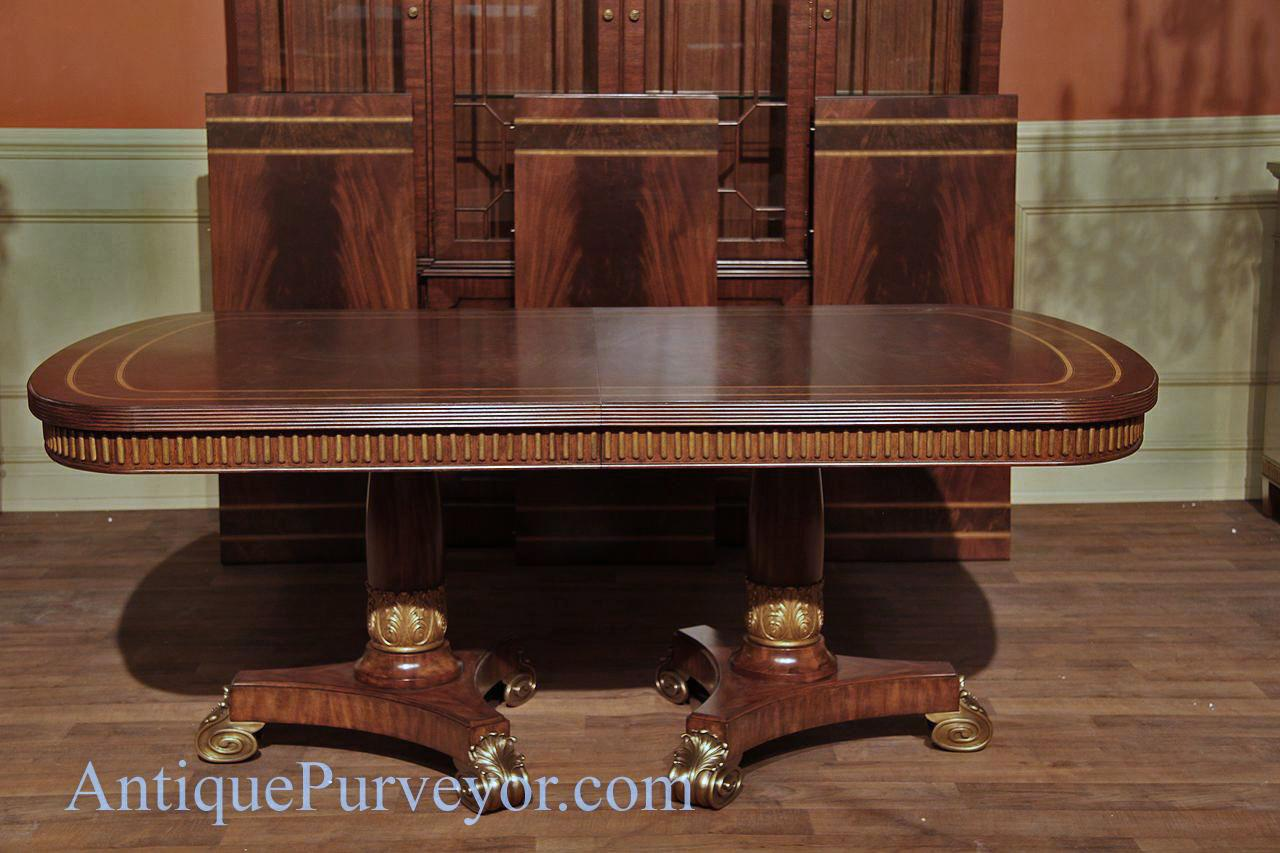 Narrow Regency Designer Mahogany Dining Table With Gold Leaf