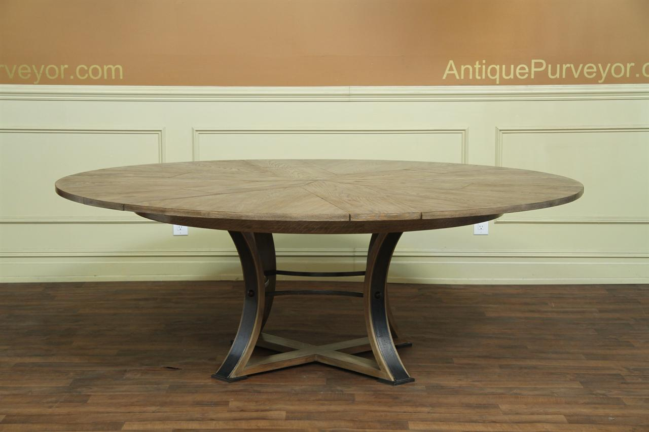 Gray Oak Transitional Jupe Table with Hammered Iron Saber