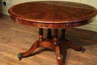 Round Expandable Formal Mahogany Dining Table with Leaves ...