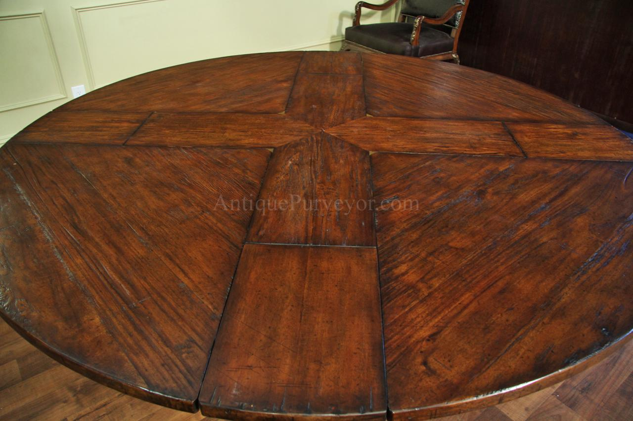 59 To 74 Inch Round Solid Walnut Country Style Dining Table