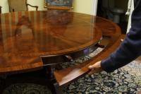 Round to Oval Mahogany Dining Table, High End Designer