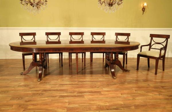 Large Traditional Mahogany Dining Table 6 12