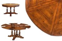 Round dining table with hidden leaves | Solid walnut ...