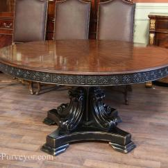 Round Black Kitchen Table Resurfacing 60 Inch Walnut Pedestal Dining W And Gold Antique Reproduction Finished With Accents