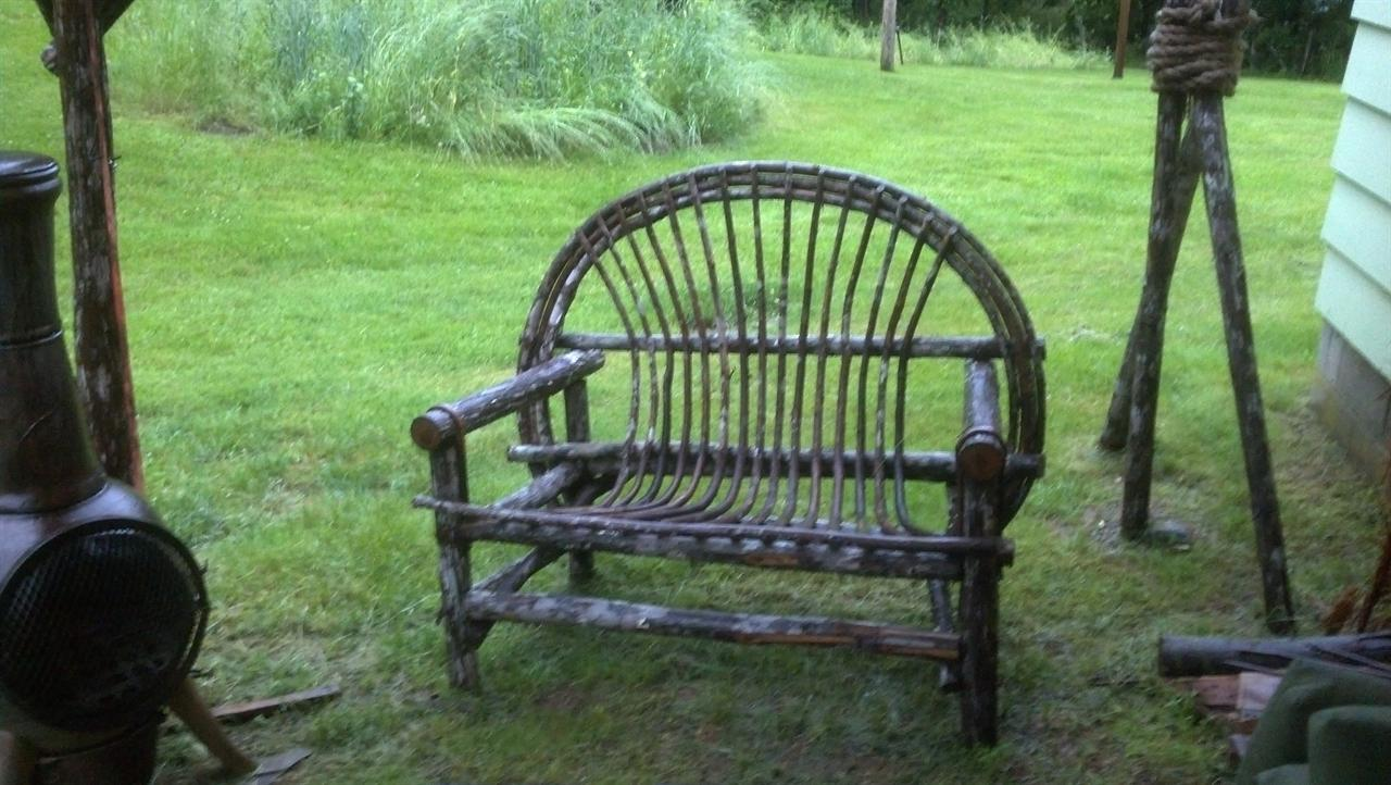rustic outdoor chairs big beach chair patio set love seat side and table furniture